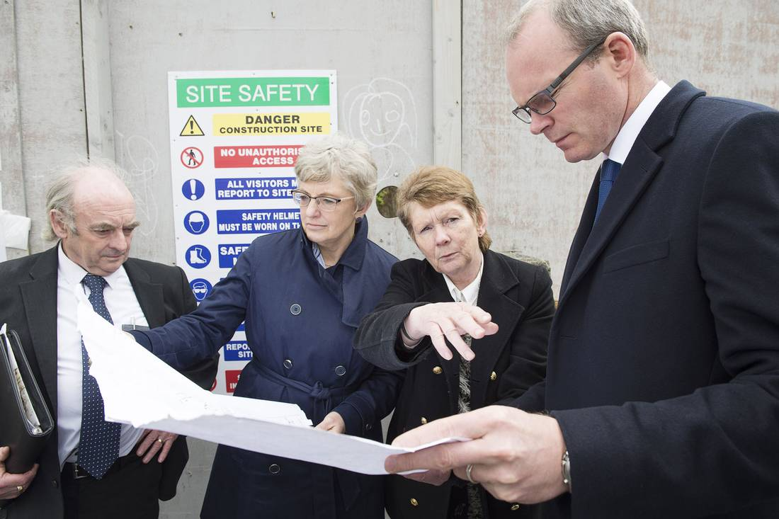 Catherine Corless, second from right, visits the Tuam burial site with Aidan Corless, her husband; Katherine Zappone, Ireland's Minister of Children and Youth Affairs; and Simon Coveney, Minister for Housing, Planning, Community and Local Government.