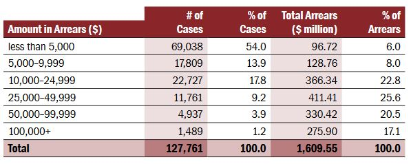FRO - Total Number of Cases with Amounts in Arrears as at December 31, 2009