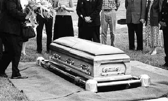Jim's coffin at the funeral